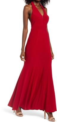 Morgan & Co. Mesh Halter Gown