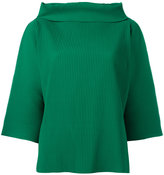 Issey Miyake Ribbed wide funnel neck top - women - Polyester - One Size