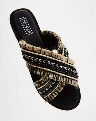 Therapy Women's Black Flat Sandals - Allium - Size 5 at The Iconic