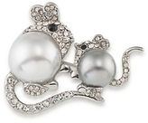 Carolee Two Pearly Mice Silvertone Faux Pearl Pin