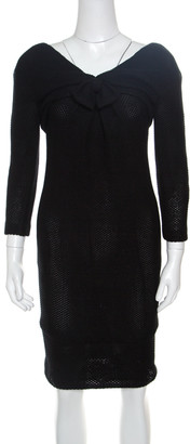 Chanel Black Textured Glitter Effect Cotton Bow Detail Long Sleeve Dress S