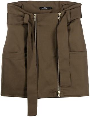 Amen Belted Cotton Mini Skirt