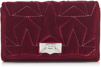 Jimmy Choo HELIA CLUTCH Bordeaux Star Matelasse Velvet Clutch with Chain Strap