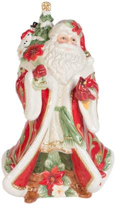 Fitz & Floyd Deck The Halls Cardinal Christmas Santa Musical Ceramic Figurine