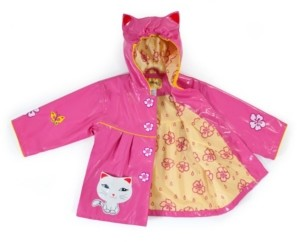 Kidorable Little and Big Girl with Comfy Lucky Cat Raincoat