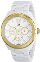 Tommy Hilfiger Women's 1781428 Gold-Tone Watch with White Resin Band