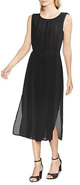 Vince Camuto Sleeveless Pleated-Overlay Dress