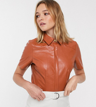 Glamorous crop shirt in soft faux leather-Brown