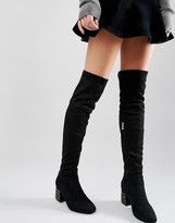 Daisy Street Stud Heeled Over The Knee Boots