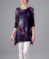 Lily Purple Peacock Feather Sidetail Tunic - Plus Too