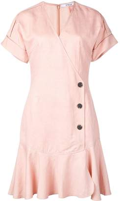 Derek Lam 10 Crosby Short Sleeve Wrap Dress with Pleated Hem