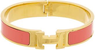 Hermes Gold-Plated & Hot Pink Enamel Clic-Clac H Bracelet