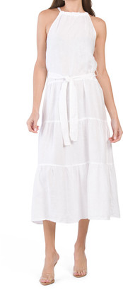 Made In Usa Linen Tiered House Maxi Dress