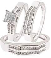 My Trio Rings 1 Carat T.W. Round, Princess Cut Diamond Trio Matching Wedding Ring Set 14K White Gold - Size 7.5