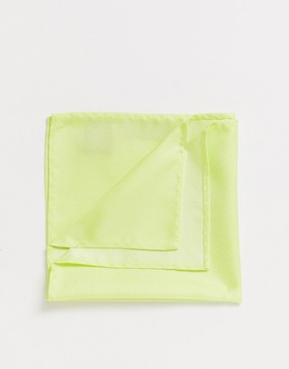 Twisted Tailor pocket square in neon yellow