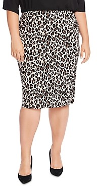 Vince Camuto Plus Elegant Leopard Pencil Skirt