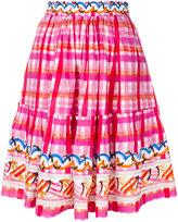 Peter Pilotto abstract check skater skirt - women - Cotton - 6