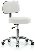 "Height Adjustable Exam Stool with Basic Backrest Perch Chairs & Stools Color: Adobe White Vinyl, Size: 36"" H x 24"" W x 24"" D"