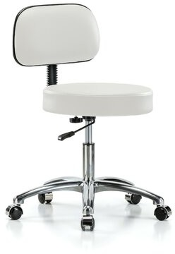 """Perch Chairs & Stools Height Adjustable Exam Stool with Basic Backrest Perch Chairs & Stools Color: Adobe White Vinyl, Size: 36"""" H x 24"""" W x 24"""" D"""