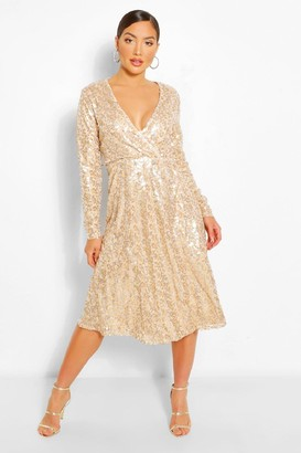 boohoo Boutique Sequin Wrap Midi Dress