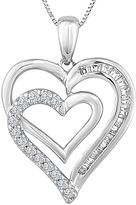 FINE JEWELRY 1/5 CT. T.W. Diamond Double-Heart Pendant Necklace