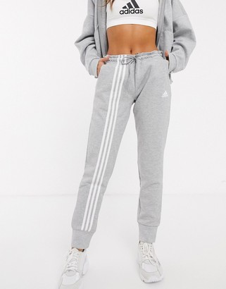 adidas Training three stripe sweatpants in gray
