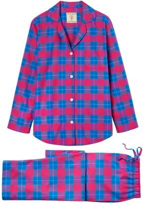 British Boxers Women's Pink Tartan Brushed Cotton Pyjama Set