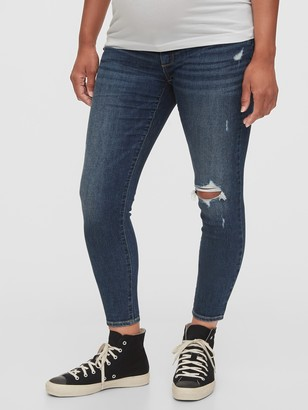 Gap Maternity Inset Panel Destructed Skinny Jeans