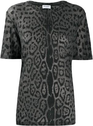 Saint Laurent leopard-print crew-neck T-shirt