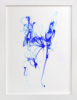 Minted Inky Blue Floral Art Print