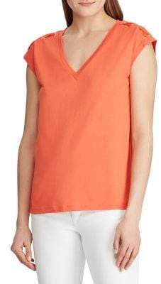 Lauren Ralph Lauren Lace-Up Sleeve Top