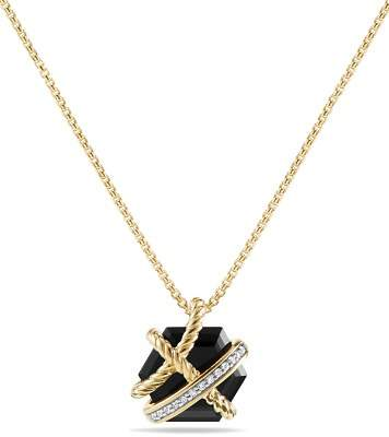 David Yurman Cable Wrap Necklace with Black Onyx & Diamonds in 18K Gold