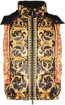 Versace Reversible Baroque-Print Padded Gilet