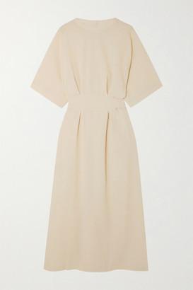 BEIGE Lvir LVIR - Reversible Belted Cloque Midi Dress