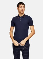 TopmanTopman Navy Tipped Ribbed Short Sleeve Polo