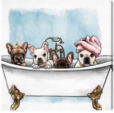 Oliver Gal Frenchies In The Tub (Canvas)