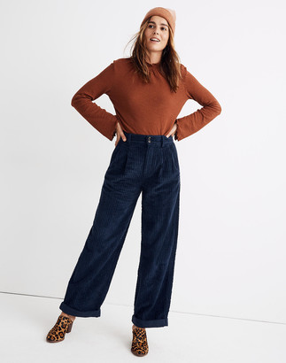 Madewell Pleated Wide-Leg Full-Length Pants in Corduroy