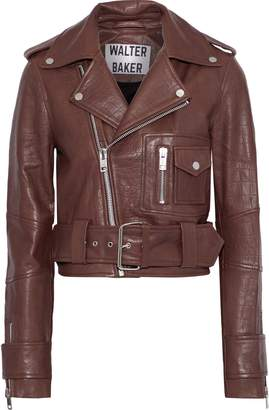 Walter Baker Mara Cropped Croc-effect Leather Biker Jacket