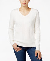 Karen Scott V-Neck Cable-Knit Sweater, Only at Macy's