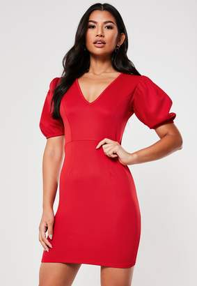 Missguided Red Puff Sleeve V Neck Bodycon Mini Dress