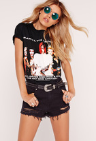 Missguided Marilyn Manson Band T Shirt Black