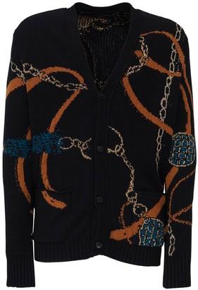 Amiri Tassels Intarsia Wool Blend Cardigan