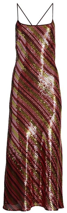 Rixo Sylvie Sequin Stripe Midi Dress