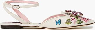 Dolce & Gabbana Crystal-embellished Floral-print Leather Point-toe Flats