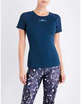 adidas by Stella McCartney Ladies Dark Navy Round Stylish Training Stretch-Jersey T-Shirt