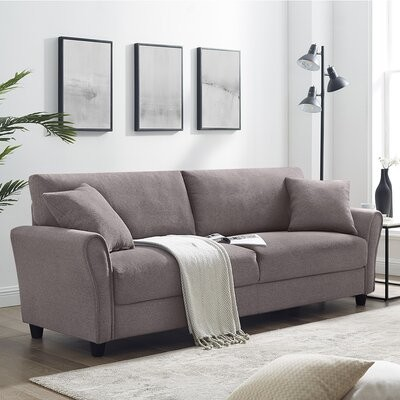 """Thumbnail for your product : Winston Porter Sonnie 85.43"""" Flared Arm Sofa Fabric: Brown"""