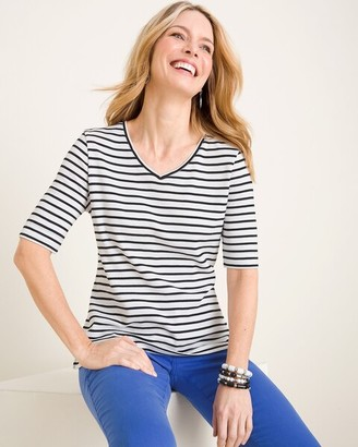 Chico's Chicos Striped Supima Cotton V-Neck Tee