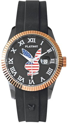 Playboy USA42BG - America unisex watch analogue quartz black dial black leather strap