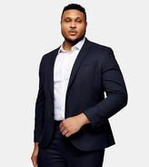 Thumbnail for your product : Topman Big & Tall textured skinny fit single breasted suit jacket with notch lapels in navy