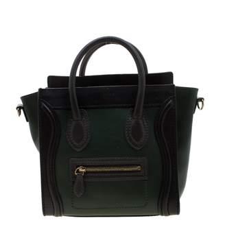 Celine Luggage Green Leather Handbags